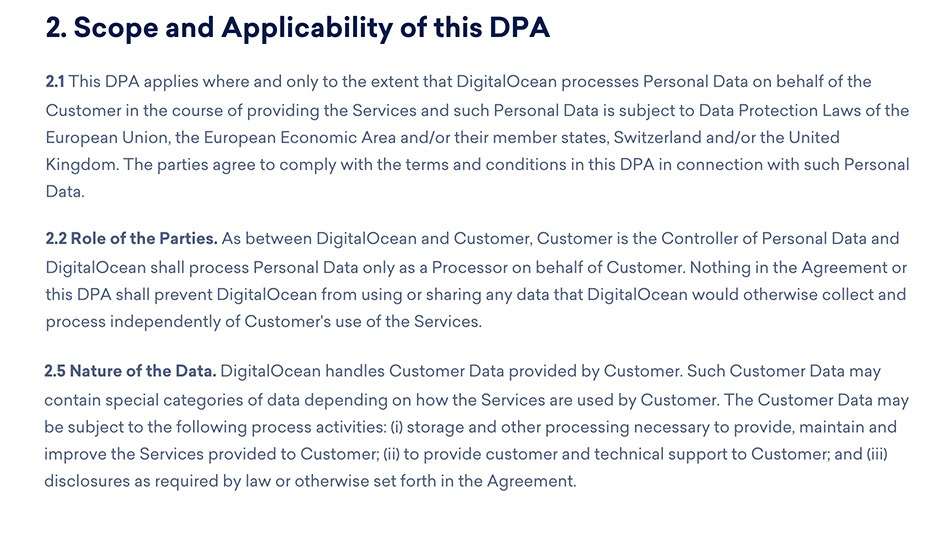 DigitalOcean DPA: Excerpt of Scope and Applicability section