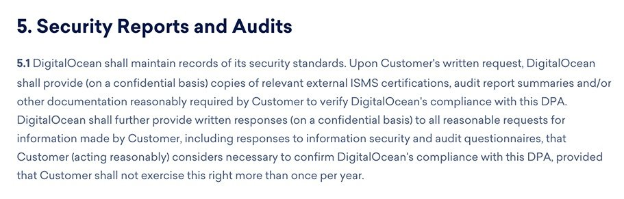 DigitalOcean DPA: Security Reports and Audits section