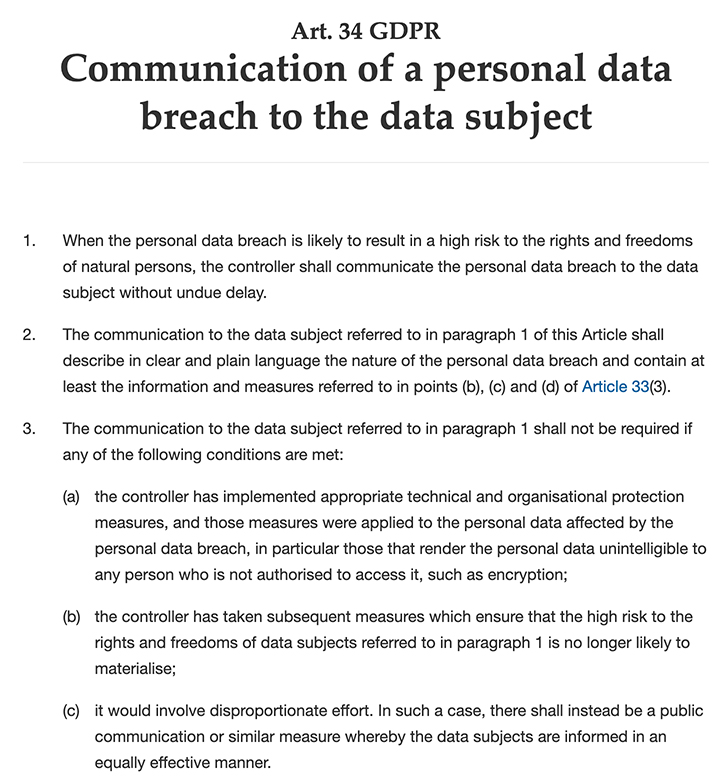 GDPR Info: Article 34 - Communication of a Personal Data Breach to the Data Subject