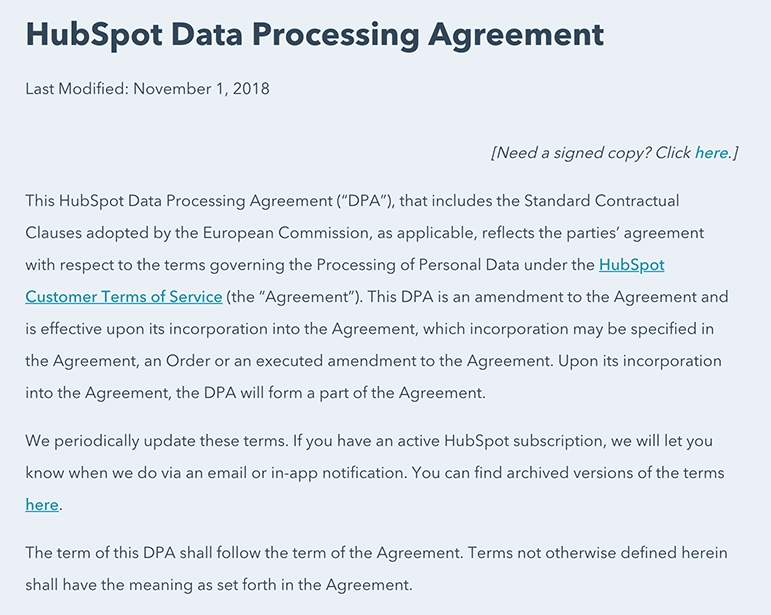 HubSpot DPA intro paragraph