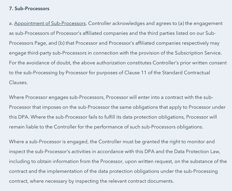 HubSpot DPA: Excerpt of Appointment of Sub-Processors section