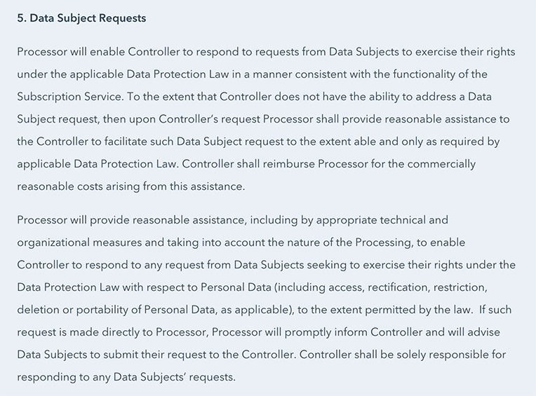 HubSpot DPA: Data Subject Requests section