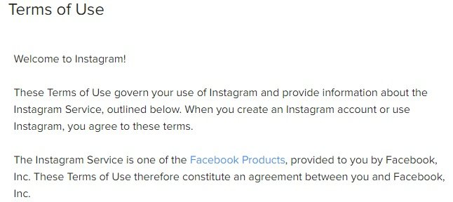 Instagram Terms of Use: Intro clause