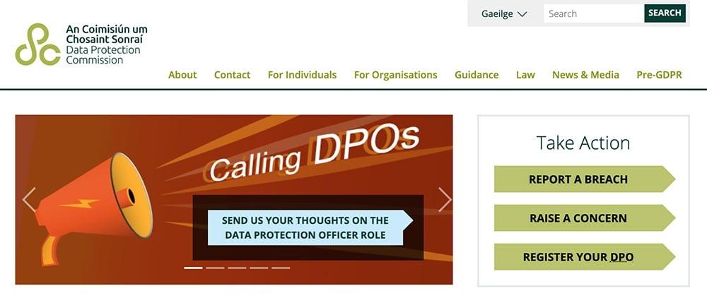 Screenshot of Ireland Data Protection Authority website homepage