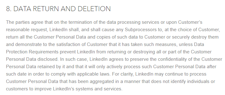 LinkedIn DPA: Data Return and Deletion section