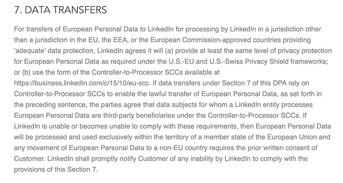 LinkedIn DPA: Data Transfers section