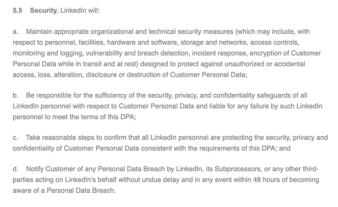 LinkedIn DPA: LinkedIn Obligations - Security section