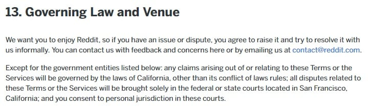 Reddit User Agreement: Governing Law and Venue clause excerpt