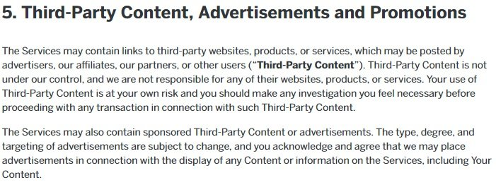 Reddit User Agreement: Third Party Content clause excerpt