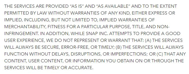 Snap Terms of Service: Warranty Disclaimer clause