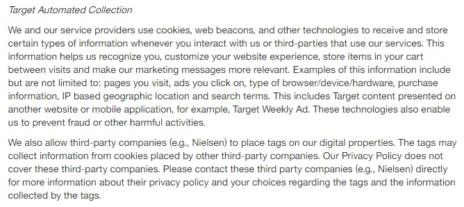 Target Privacy Policy: Automated Collection cookie clause