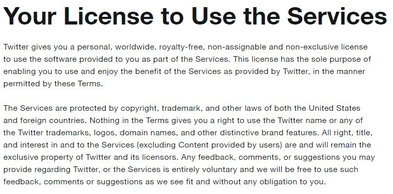 Twitter Terms of Service: Your License to Use - Intellectual Property clause