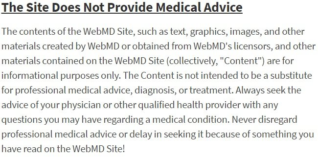 WebMD Terms and Conditions: Medical advice disclaimer excerpt