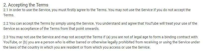 YouTube Terms of Service: Accepting the Terms clause