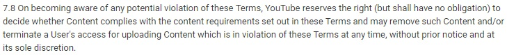 YouTube Terms of Service Termination clause