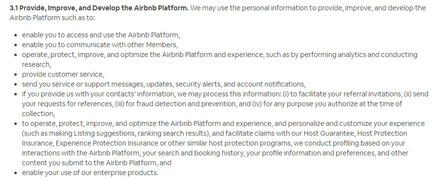 Airbnb Privacy Policy: How We Use Information clause - improve and develop platform section