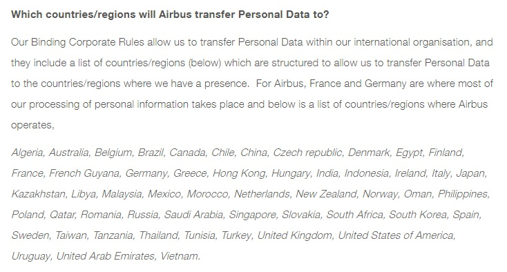 Airbus Privacy Policy: International transfer of personal data clause