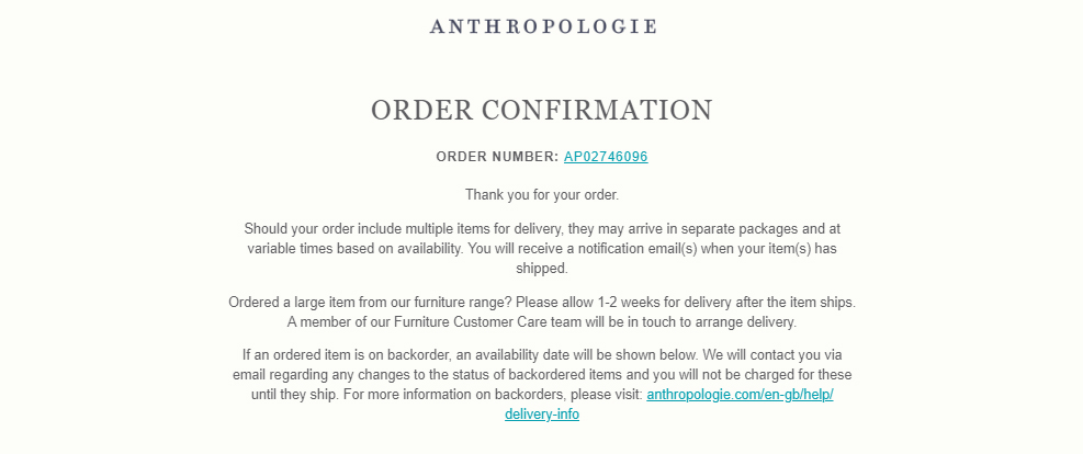 Screenshot of Anthropologie order confirmation email