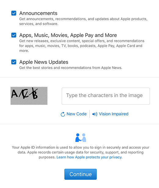 Apple Create ID form with pre-ticked checkboxes