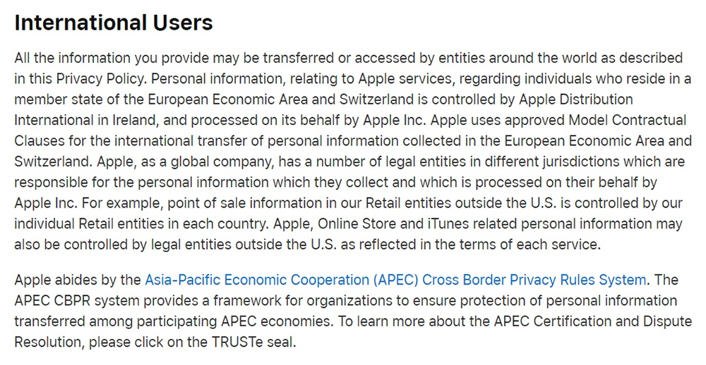 Apple Privacy Policy: International Users clause