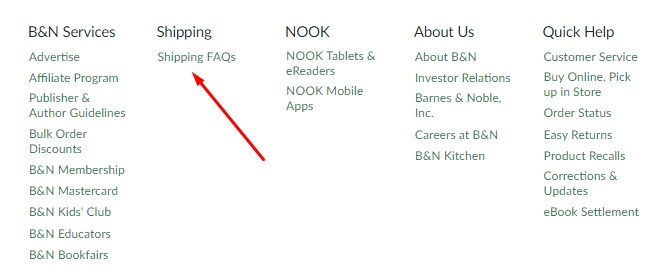 Barnes and Noble website footer links with shipping FAQ highlighted