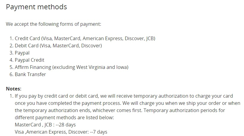 DJI Help Center: Payment Methods and note about temporary authorization of card