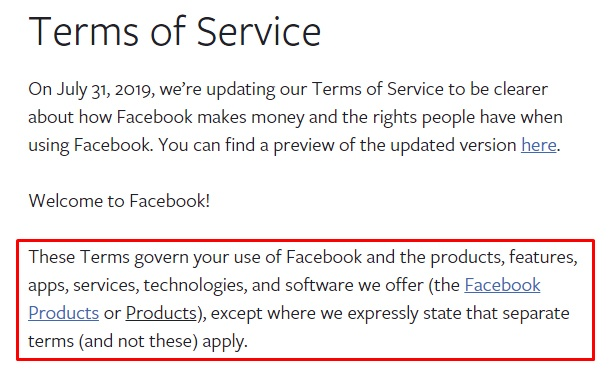 Facebook Terms of Service: Introduction paragraph highlighted