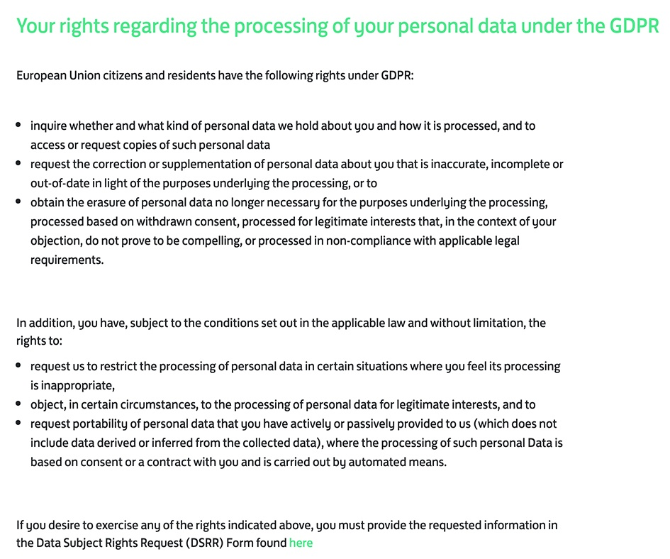 Flixmedia Privacy Notice: GDPR User Rights clause