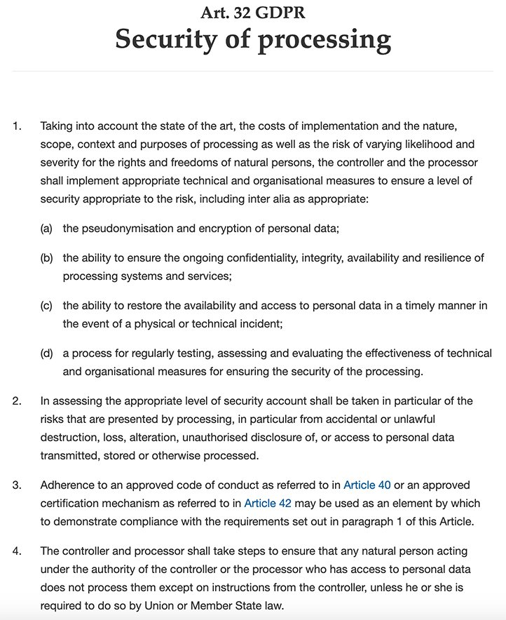 GDPR Info: Article 32 - Security of processing