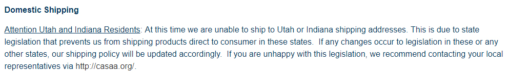 Giant Vapes Shipping Policy: Domestic Shipping restrictions section