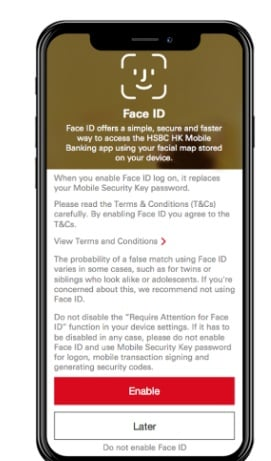 HSBC mobile: Screenshot of Enable Face ID screen