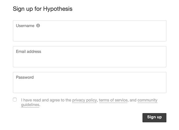 Hypothesis sign-up form with checkbox to agree to Privacy Policy and Terms