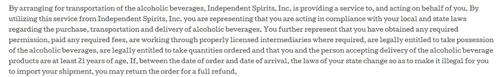 Independent Spirits Terms and Conditions: Clause about accepting delivery with age verification