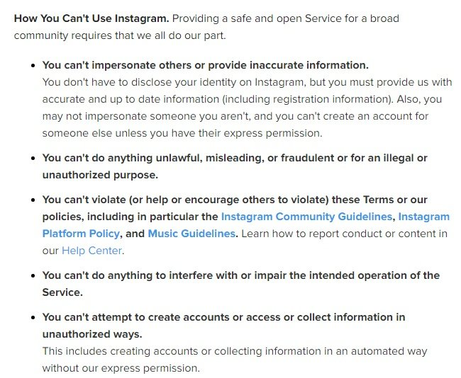 Instagram Terms of Use: Excerpt of How You Can't Use Instagram clause