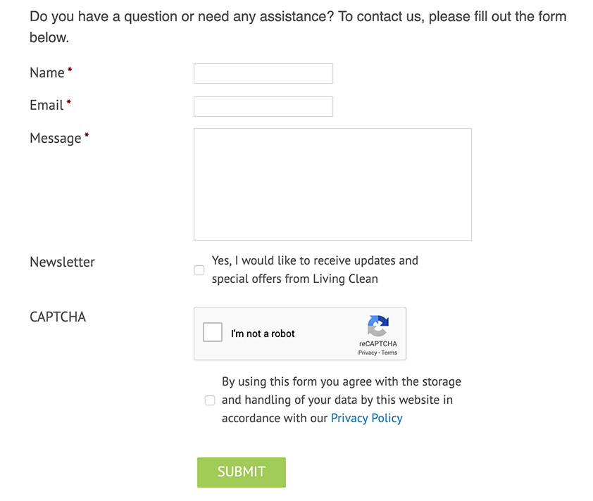 Living Clean contact form with checkbox to agree to Privacy Policy