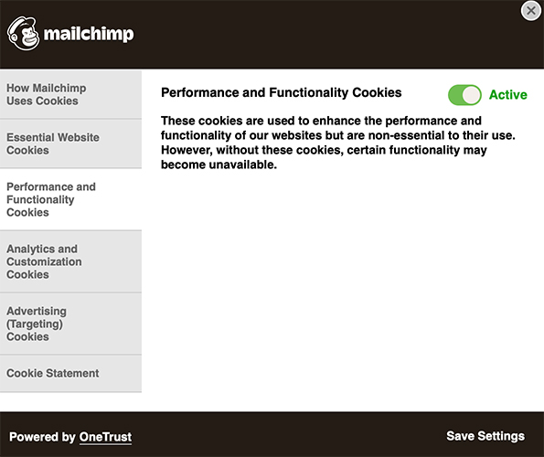 Mailchimp cookie settings interface