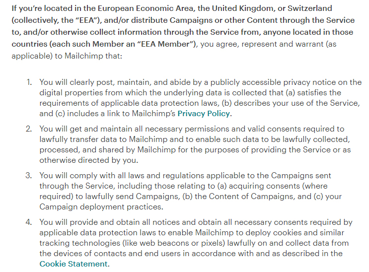 Mailchimp Standard Terms of Use: Compliance with Laws clause - EEA excerpt