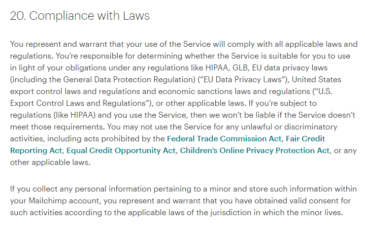 Mailchimp Standard Terms of Use: Compliance with Laws clause