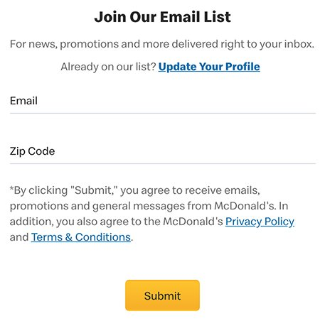 McDonald's Join Email List form