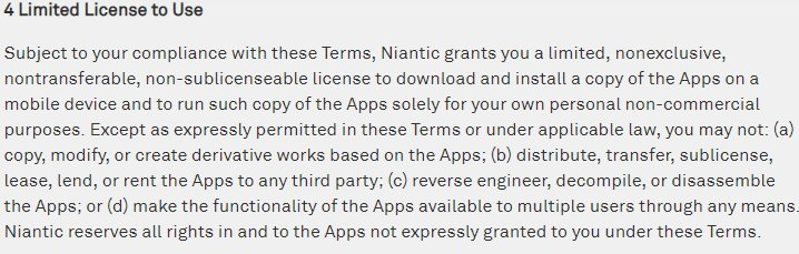 Niantic Terms of Use: Limited License to Use clause