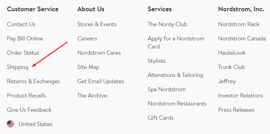 Nordstrom website footer links with Shipping Policy highlighted