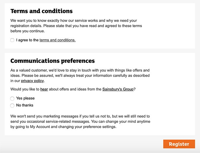 Sainsburys Register form with checkboxes for consent to Terms and Conditions and marketing messages