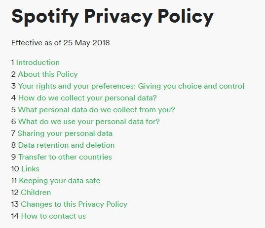 Spotify Privacy Policy Table of Contents