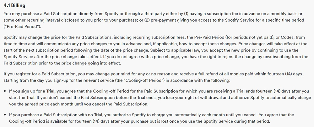 Spotify Terms and Conditions: Billing clause