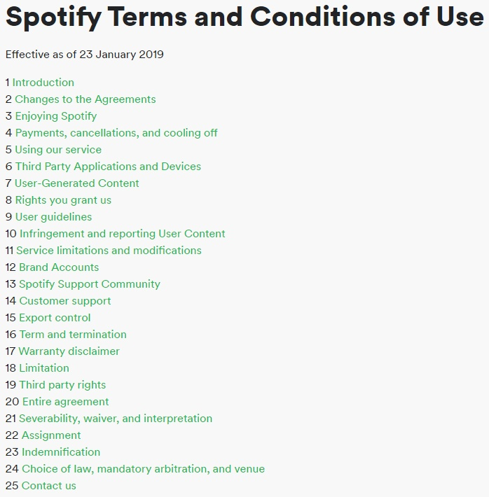 Spotify Terms and Conditions Table of Contents