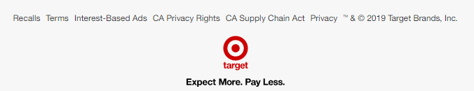 Target website footer-links