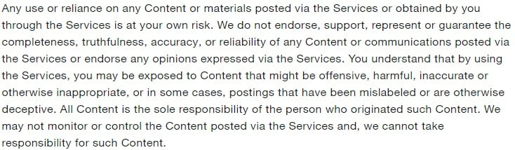 Twitter Terms of Service: Use at Your Own Risk clause