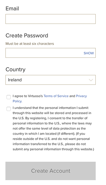 Virtuoso: Create Account form with checkboxes for consent to Terms of Service Privacy Policy and international data transfer