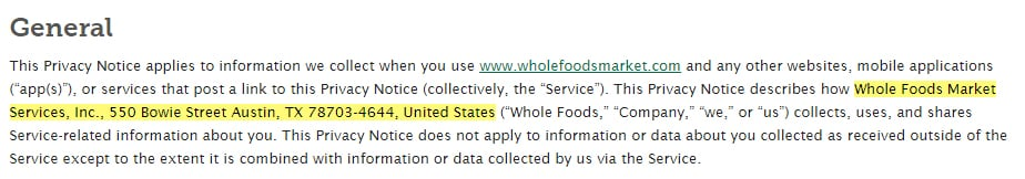 Whole Foods Privacy Notice: General clause with contact information highlighted
