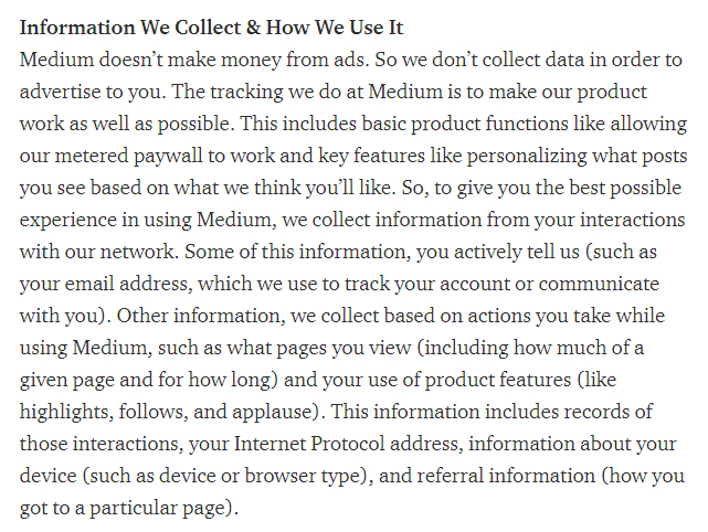 Medium Privacy Policy: Excerpt of clause about Information We Collect and How We Use it